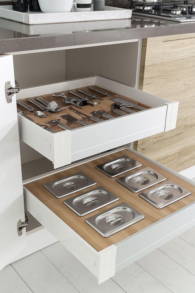 Cucine con maniglie integrate carima evo cucine - Cestelli estraibili per cucine ...