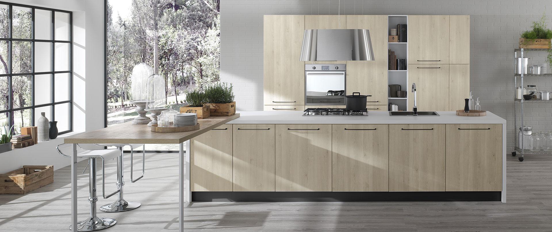 Cucine moderne color rovere | Aurora | EVO Cucine
