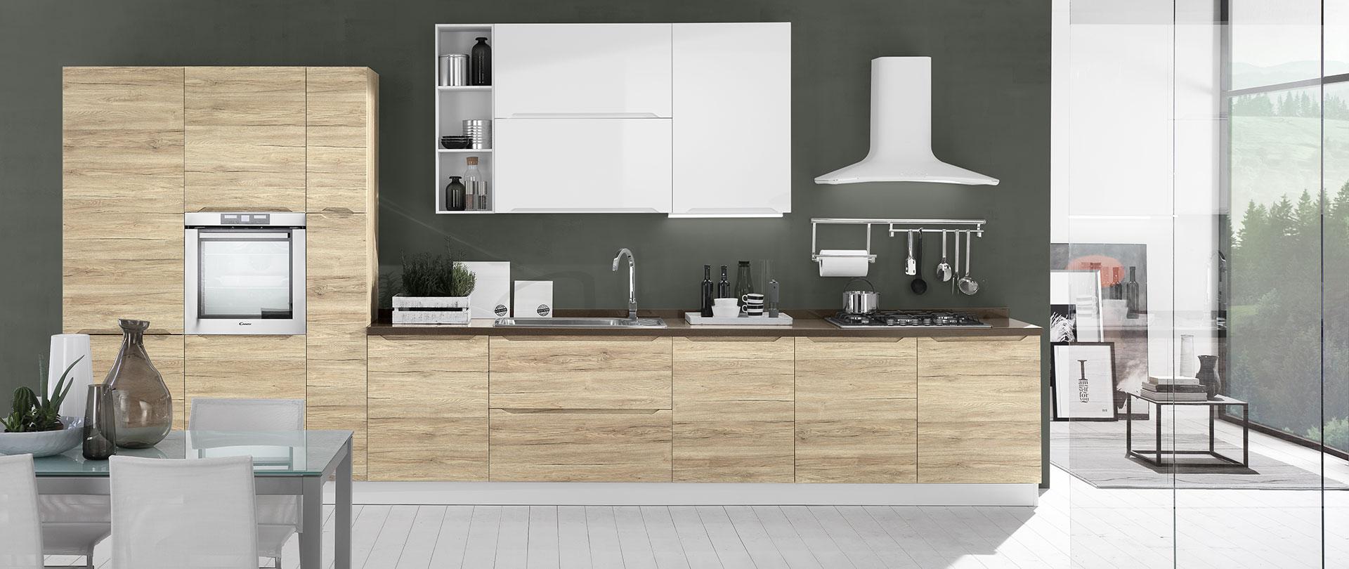 Cucine con maniglie integrate carima evo cucine - Cucina rovere bianco ...