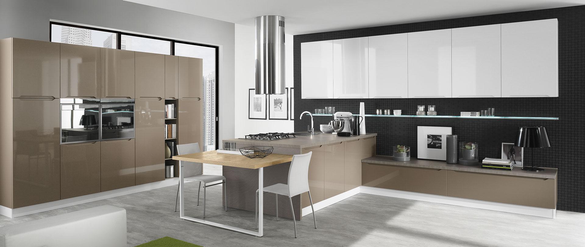 Cucine con maniglie integrate carima evo cucine - Cucina bianca e tortora ...