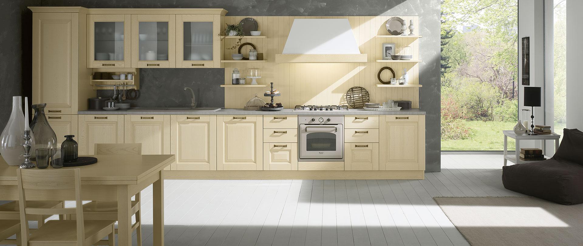 Cucine classiche in legno massello telma evo cucine - Cucina color panna ...