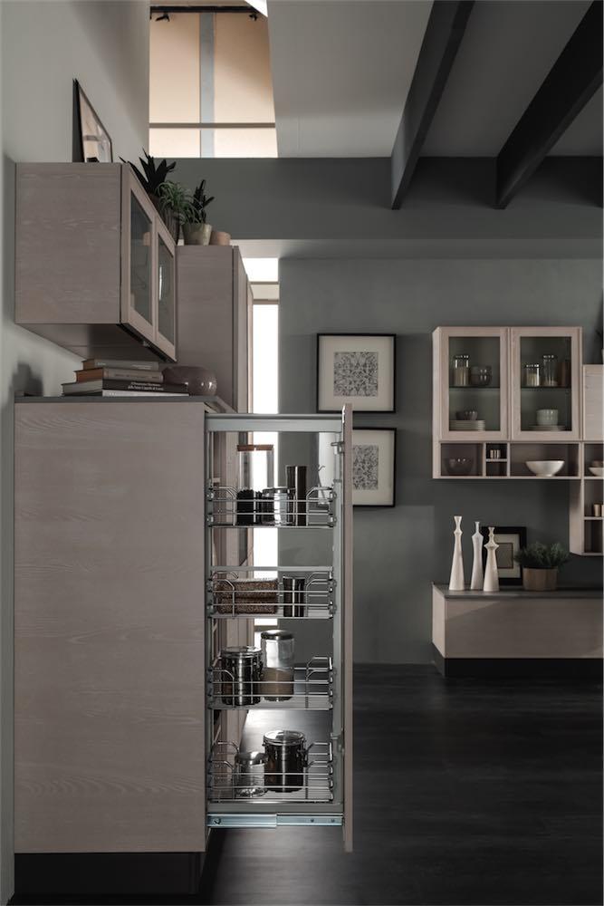 cucina-moderna-quadra-con-cestello-estraibile - EVO Cucine