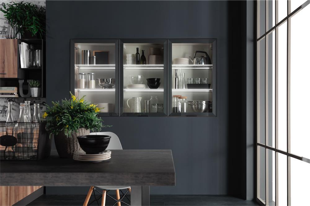 Vetrina Moderna Design.Cucina Moderna Sonora Vetrina Con Luci Led Evo Cucine