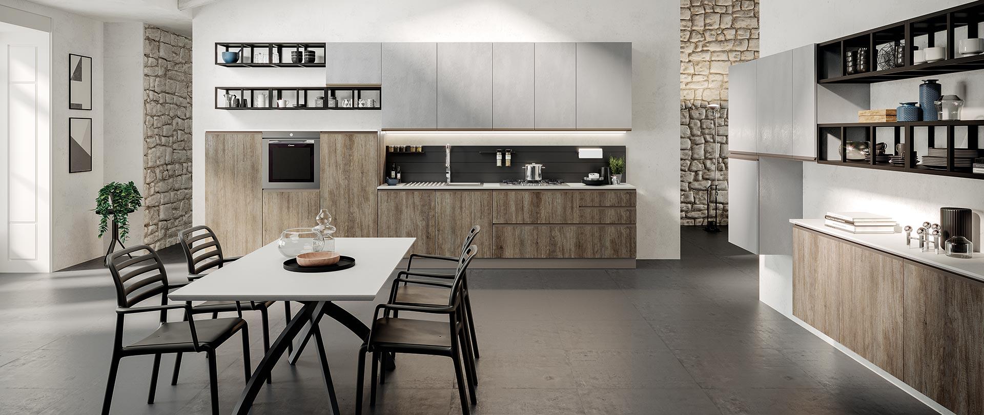 cucina moderna maia cemento grigio legno naturale
