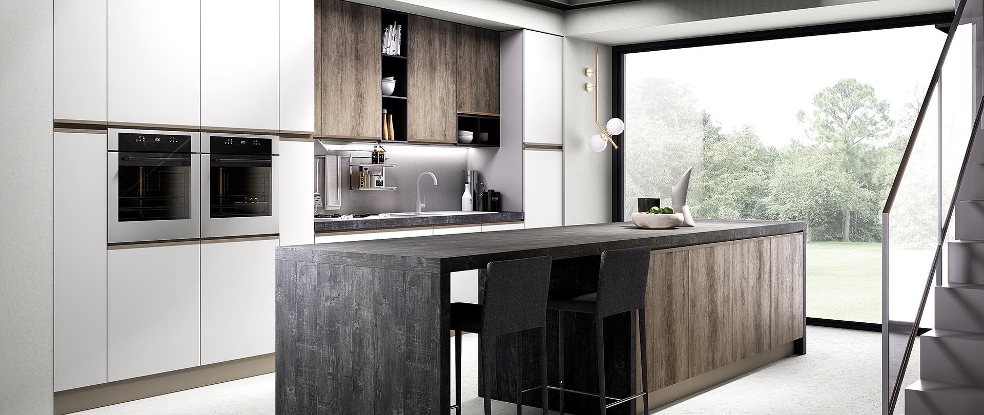 cucina moderna maia legno naturale bianco opaco