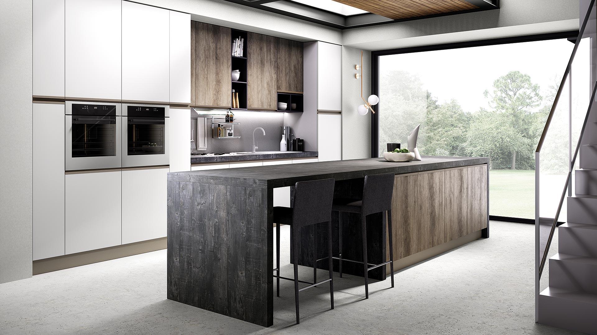 Cucina con maniglia integrata, MAIA, un modello accessibile ...